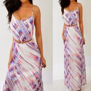 Pink Blue Chiffon Long Maxi Dress S Small